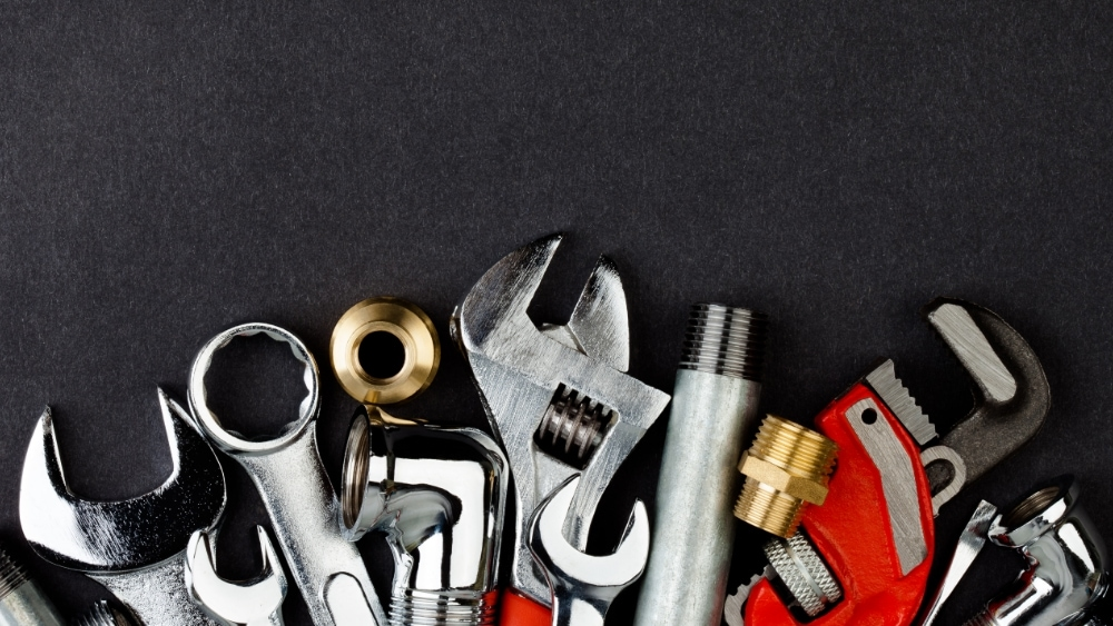 Tools on a black background.